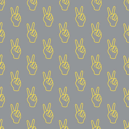 Seamless vector pattern with victory gesture. Two fingers raised up. Gesturing of peace and success. Design for textile, banner, poster or print. Illuminating and Ultimate Gray.