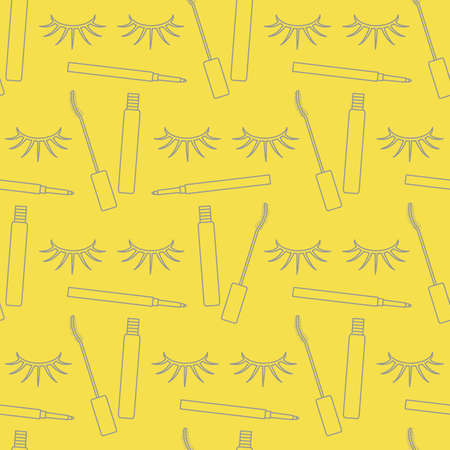 Vector seamless pattern with eyelashes, mascara, pencil. Decorative cosmetics, makeup background. Glamor fashion vogue style. Design for textile, wrapping, print. Illuminating and Ultimate Gray. 일러스트