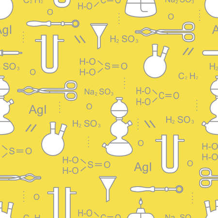 Scientific vector seamless pattern with flasks, burners, funnels, tools and formulas. Education elements. Chemistry, biology, medicine. Illuminating and Ultimate Gray.