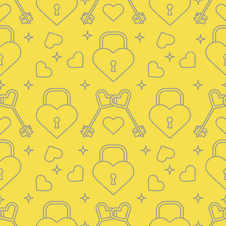 Seamless pattern with hearts, lock, keys in heart shape. Greeting card happy Valentine's Day. Romantic background. Design for banner, poster or print. Illuminating and Ultimate Gray.