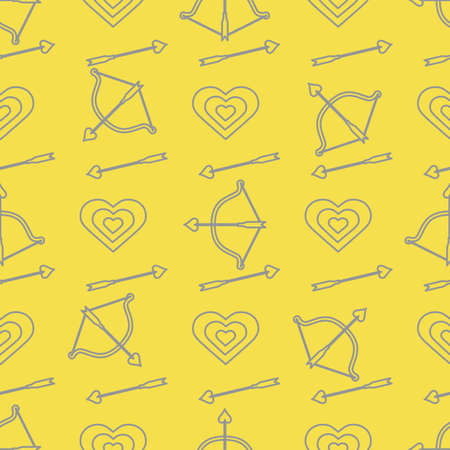 Seamless pattern with bow, arrows, target, hearts. Greeting card happy Valentine's Day. Romantic background. Design for banner, poster or print. Illuminating and Ultimate Gray. 일러스트