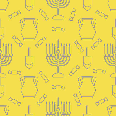 Happy Hanukkah. Jewish holiday Vector seamless pattern with traditional Chanukah symbols Menorah candles, oil jar, dreidel, spinning top, candy Festive background Design for textile, wrapping, print. Illuminating and Ultimate Gray.