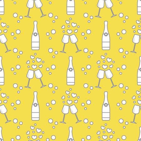 Seamless pattern with champagne glasses, hearts, bottle. Greeting card happy Valentine's Day. Romantic background. Illuminating and Ultimate Gray.