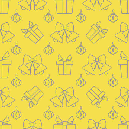 Happy new year, Merry Christmas vector seamless pattern with Christmas tree toy, bells, gifts. Design for wrapping, fabric, print. Illuminating and Ultimate Gray.