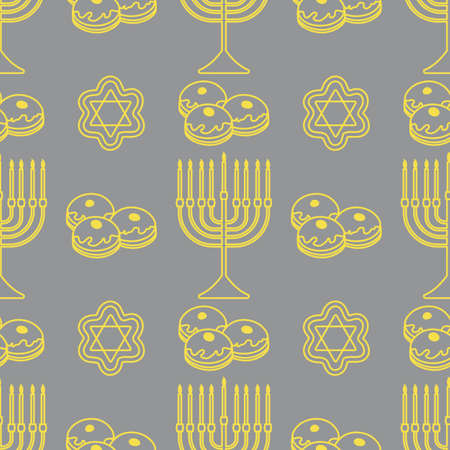 Happy Hanukkah. Jewish holiday Vector seamless pattern with traditional Chanukah symbols Menorah candles, donuts, cookies on the white background. Festive design for textile, wrapping, print Illuminating and Ultimate Gray.