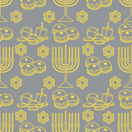 Happy Hanukkah. Jewish holiday Vector seamless pattern with traditional Chanukah symbols Menorah candles, donuts, dreidel spinning top, coins, cookies. Festive design for textile, wrapping, print Illuminating and Ultimate Gray.