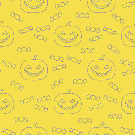 Halloween vector seamless pattern with pumpkin and candy. Design for party card, wrapping, fabric, print. Illuminating and Ultimate Gray. 일러스트