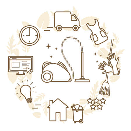 Vector Illustration Professional Quality Cleaning service. Find and order scrubwoman through internet. Housekeeping Household chores House cleaning. Make an order vacuum, garbage removal. Design print