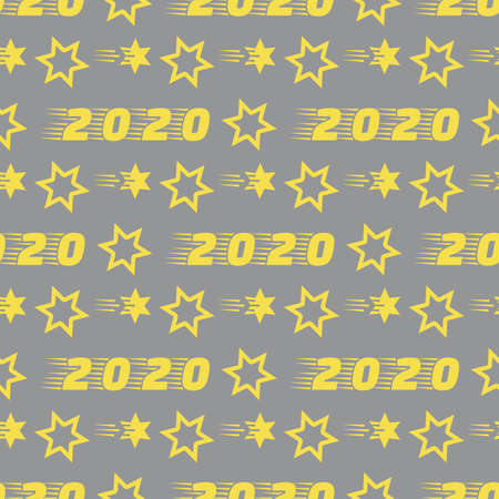 Happy New Year, Merry Christmas seamless pattern. Vector illustration with stars and numbers 2020. Festive background. Design for packaging paper, fabric, print. Illuminating and Ultimate Gray.