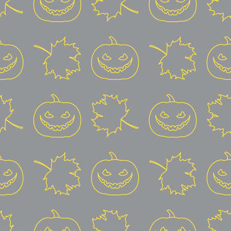 Halloween vector seamless pattern with pumpkin and maple leaves. Design for party card, wrapping, fabric, print. Illuminating and Ultimate Gray.