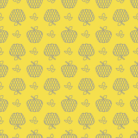 Seamless pattern with apples. Vector illustration with apple and leaf. Fruit background. Design for poster, textile, greeting card. Illuminating and Ultimate Gray. 일러스트
