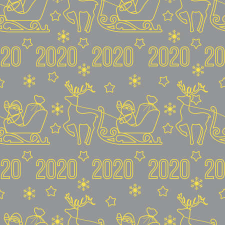 Happy New Year, Merry Christmas seamless pattern. Vector illustration Santa Claus with bag of gifts rides in sleigh pulled by a deer. Design for fabric, print, wrapping paper. Illuminating and Ultimate Gray. 일러스트