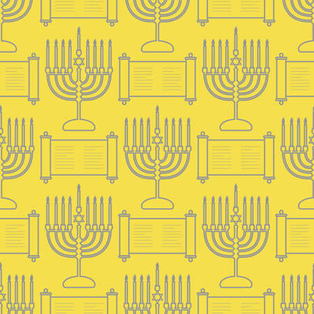 Happy Hanukkah. Jewish holiday Vector seamless pattern with traditional Chanukah symbols Menorah candles, Torah scroll on the white background. Festive design for textile, wrapping, print Illuminating and Ultimate Gray.