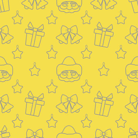 Happy new year, Merry Christmas vector seamless pattern with Santa Claus mask, Christmas toy star, bells, gifts. Design for wrapping, fabric, print. Illuminating and Ultimate Gray.