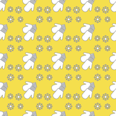 Vector winter seamless pattern with snowflakes, mittens. Christmas and New Year background. Design for wrapping, fabric, print. Illuminating and Ultimate Gray.