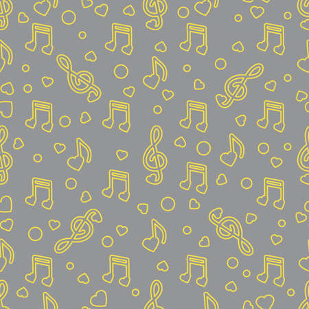 Seamless pattern with notes, hearts. Birthday, Valentine's day, Mother's Day, Father's day, wedding vector romantic background. Template for greeting card, design, fabric, print. Illuminating and Ultimate Gray.