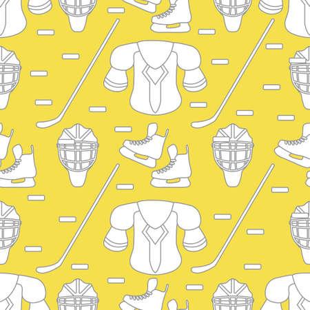 Seamless pattern with skates, goalkeeper mask, hockey stick, ice hockey puck, hockey shoulder pads. Winter sports background. Hockey equipment. Games, hobbies, entertainment. Illuminating and Ultimate Gray. 일러스트