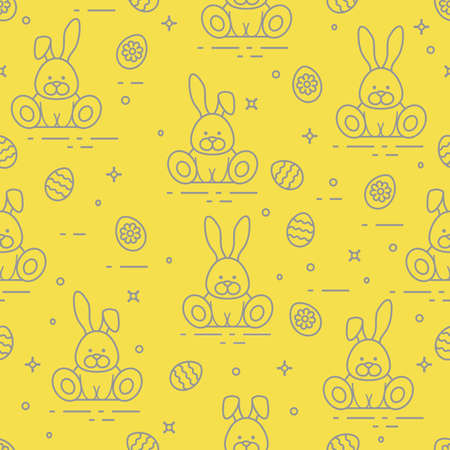 Seamless pattern with Easter symbols. Rabbits, decorated eggs. Illuminating and Ultimate Gray.