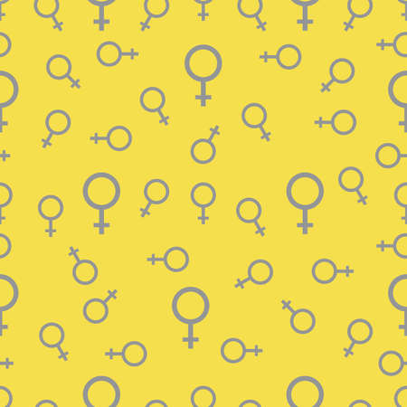 Seamless pattern with female gender symbol Vector illustration with woman, girl sign. Sexual orientation background. Concept of feminism, friendship Design backdrop tile paper, texture, print, textile Illuminating and Ultimate Gray. 일러스트