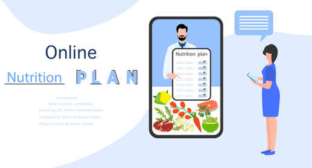 Vector illustration Nutrition Consultant Online explains diet to human. Proper nutrition. Organic Meal planning. Diet food. Healthy lifestyle concept. Eating habits. Weight loss. Design for web, print 일러스트