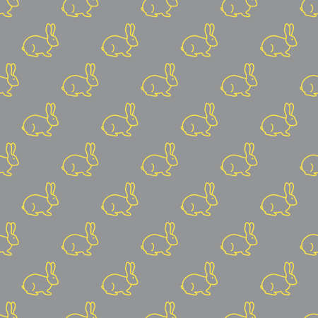 Seamless rabbit pattern. Easter holiday. Illuminating and Ultimate Gray.