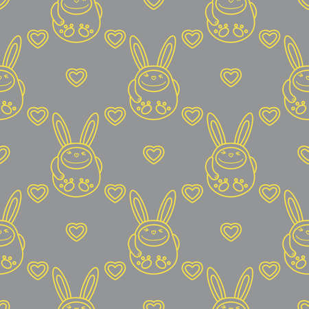 Seamless pattern with cartoon rabbits and hearts. Birthday, Valentine's day, Happy Easter vector background. Festive background. Easter Bunny, rabbit, hare. Illuminating and Ultimate Gray.