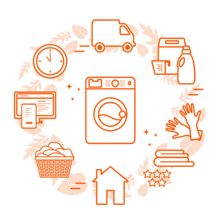 Vector Illustration Professional Quality Laundry service. Laundromat tasks Find and order through internet. Housekeeping. Domestic Household chores. Washing machine, detergents. Design for web, print