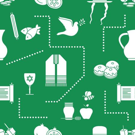 Vector illustration Jewish holiday Traditional symbols Torah scroll, oil jar, Star of David, pomegranate orthodox jewish hat sidelocks Talith Dreidel, Fish Dove, donuts, honey Festive design for print
