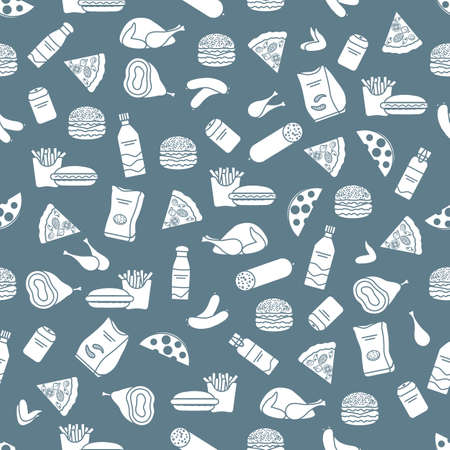 Vector Food Seamless pattern Illustration Cooking Fast food Snack Picnic Harmful eating habits Unhealthy lifestyle Sausage Hamburger Cheese Pizza French fries Chips Hotdog Ham Chicken Design for print 向量圖像
