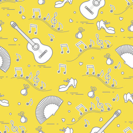 Seamless pattern with fan, shoes, castanets, notes, guitars. Travel and leisure. Traditional symbols of Spain. Illuminating and Ultimate Gray.