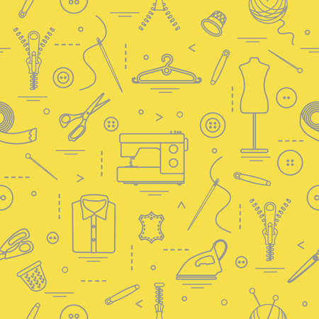 Seamless pattern with tools and accessories for sewing. Template for design, fabric, print. Illuminating and Ultimate Gray. Векторная Иллюстрация