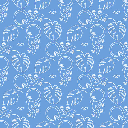 Vector Tropical seamless pattern Illustration Monstera leaves and lizard. Tropical plants Jungle wildlife. 矢量图像