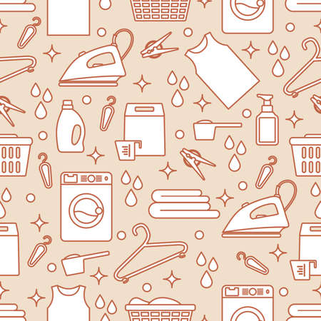 Vector Seamless pattern Illustration Laundry Cleaning service.