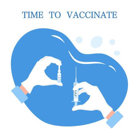Time to vaccine concept illustration 矢量图像