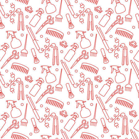 Vector Seamless pattern Illustration hairdresser tools background. Çizim