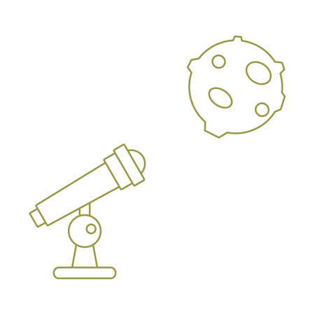 Simple Vector illustration with telescope, planet. Space exploration. Astronomy concept. Science discovery.