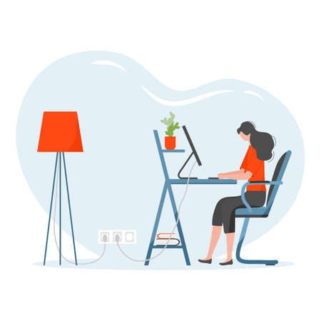 Vector illustration Remote work Girl works, talking in team chat at computer. Coronavirus COVID-19 Office at home Remote access Freelance Working remotely Studying Online concept Design for web print 矢量图像