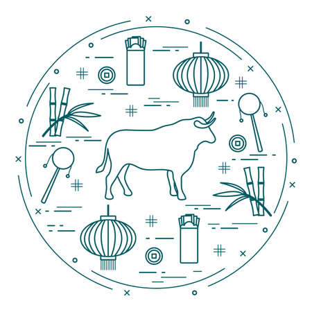 Happy New Year Vector illustration ox, bamboo, Chinese lantern, coin for luck, envelope, rattle drum. Holiday traditions, symbols Chinese New Year celebration. Bull zodiac sign, symbol of 2021 year 矢量图像