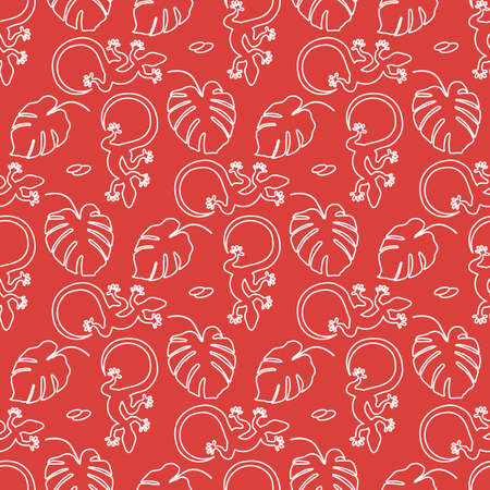 Vector Tropical seamless pattern Illustration Monstera leaves, lizard. Tropical plants Jungle wildlife. Animal. Exotic. Summer background. Design for textile, clothing, print.