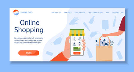 Vector illustration Online Drugstore. Medicines from online pharmacy order for delivery. Healthcare. Shopping. Buy medicaments, drugs online from home. Ordering in application on cell phone