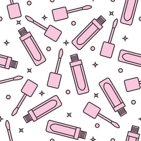 Vector seamless pattern with cosmetics, makeup background. Illustration Lipstick. Beauty design. Glamor fashion vogue style. Design for textile, wrapping, print.