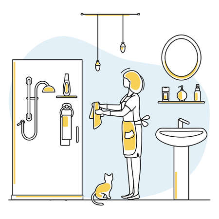 Vector illustration Apartment House Cleaning Maid service Woman washing plumbing in bathroom. Professional hygiene service for domestic household chores. Housekeeping business Design Website App Print 矢量图像