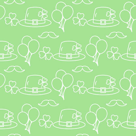 Vector seamless pattern Happy St. Patrick's Day illustration Ireland Shamrock Hat Mustache Balloon Irish Holiday Party Festive background Design for greeting card, fabric, print, wrapping paper