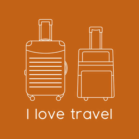 Vector illustration Suitcases isolated on color background. I love travel. Summer time, vacation, holiday, leisure. Concept for travel agency, booking service. Design for web page, print