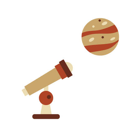 Simple Vector illustration with telescope, planet. Space exploration. Astronomy concept. Science discovery. Galaxy. Universe. Design for app, web, print 矢量图像
