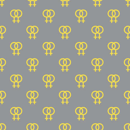 Seamless pattern with female lesbian gender symbol Vector illustration Woman sign. Sexual orientation background. Concept of homosexuality, non-traditional couple Lgbt Design paper, print, textile Illuminating and Ultimate Gray.