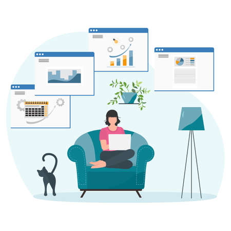 Vector illustration Remote work People work at laptop. Coronavirus COVID-19 Office at home Remote access Freelance Working remotely Studying Online concept Design for web print 矢量图像
