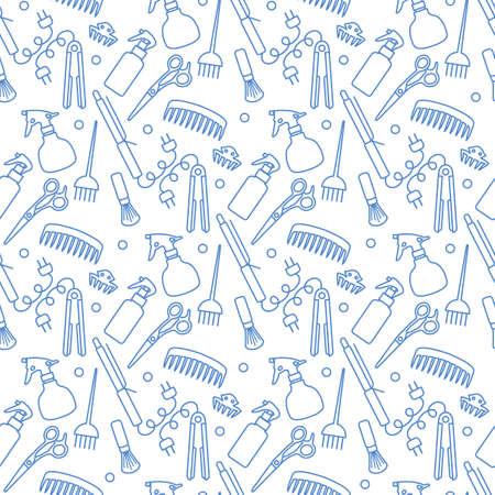 Vector Seamless pattern Illustration Professional hairdresser tools. 矢量图像