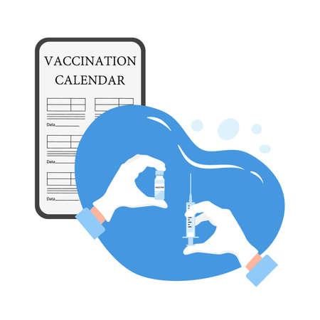 Vector illustration Hand Syringe Vaccine bottle Immunization Vaccination calendar on cell phone.