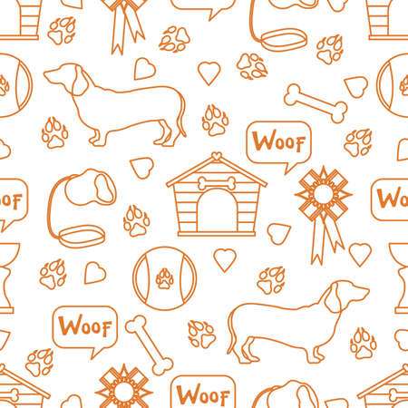 Vector seamless pattern illustration Dog Doghouse Paw tracks Bone Toy Leash Award Prize Woof. Animal background. Pet shop, exhibition, veterinary clinic, shelter concept. Design for fabric print